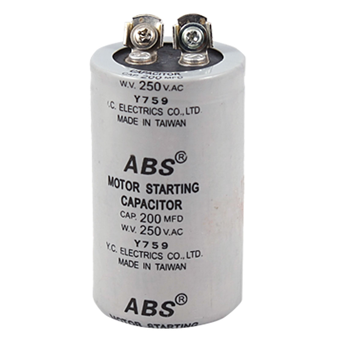 ABS Series 200MFD 200UF 250V AC Motor Starting Capacitor Gray