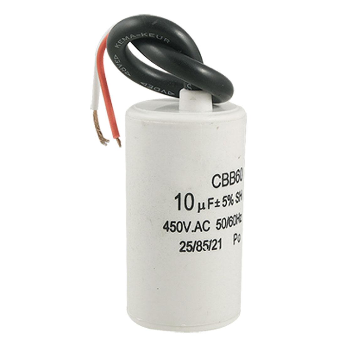 CBB60 10uF Wire Lead Cylinder Motor Run SH Capacitor AC 450V