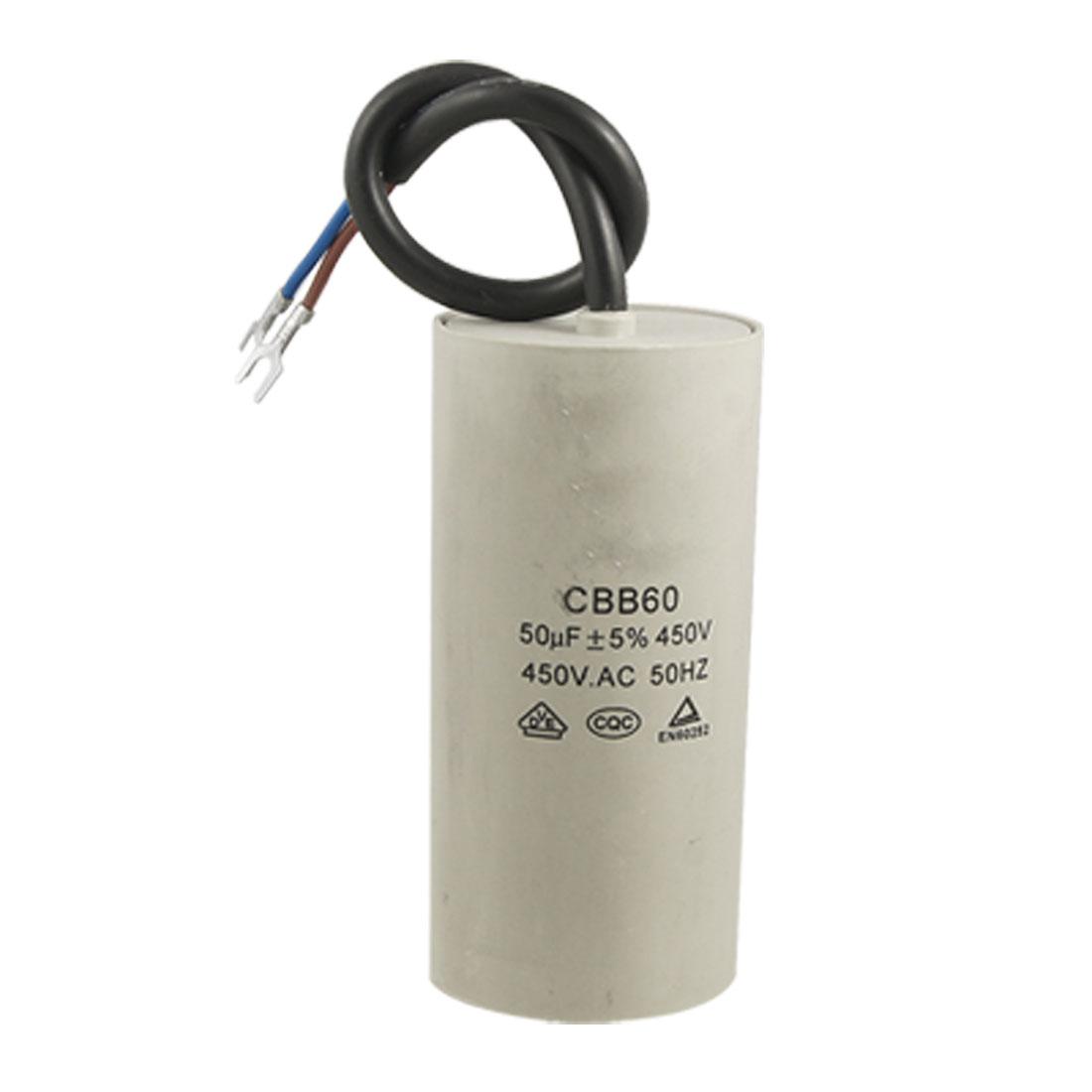 CBB60 50uF Wire Lead Cylinder Motor Run Capacitor AC 450V