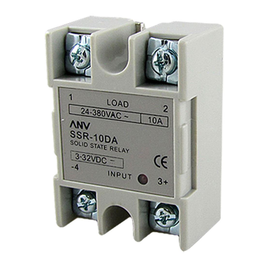 SSR-10DA 3-32V DC Input 24-380V AC Output 10A Solid State Relay