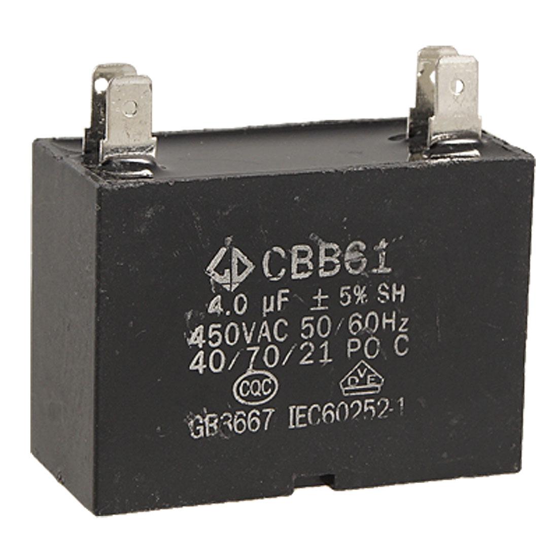 CBB61 4 Soldering Terminals Fan Motor Run Capacitor 4uF 450V AC