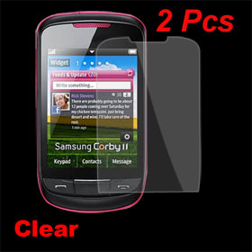 2 Pcs LCD Screen Film Protector Guard Clear for Samsung Corby II S3850