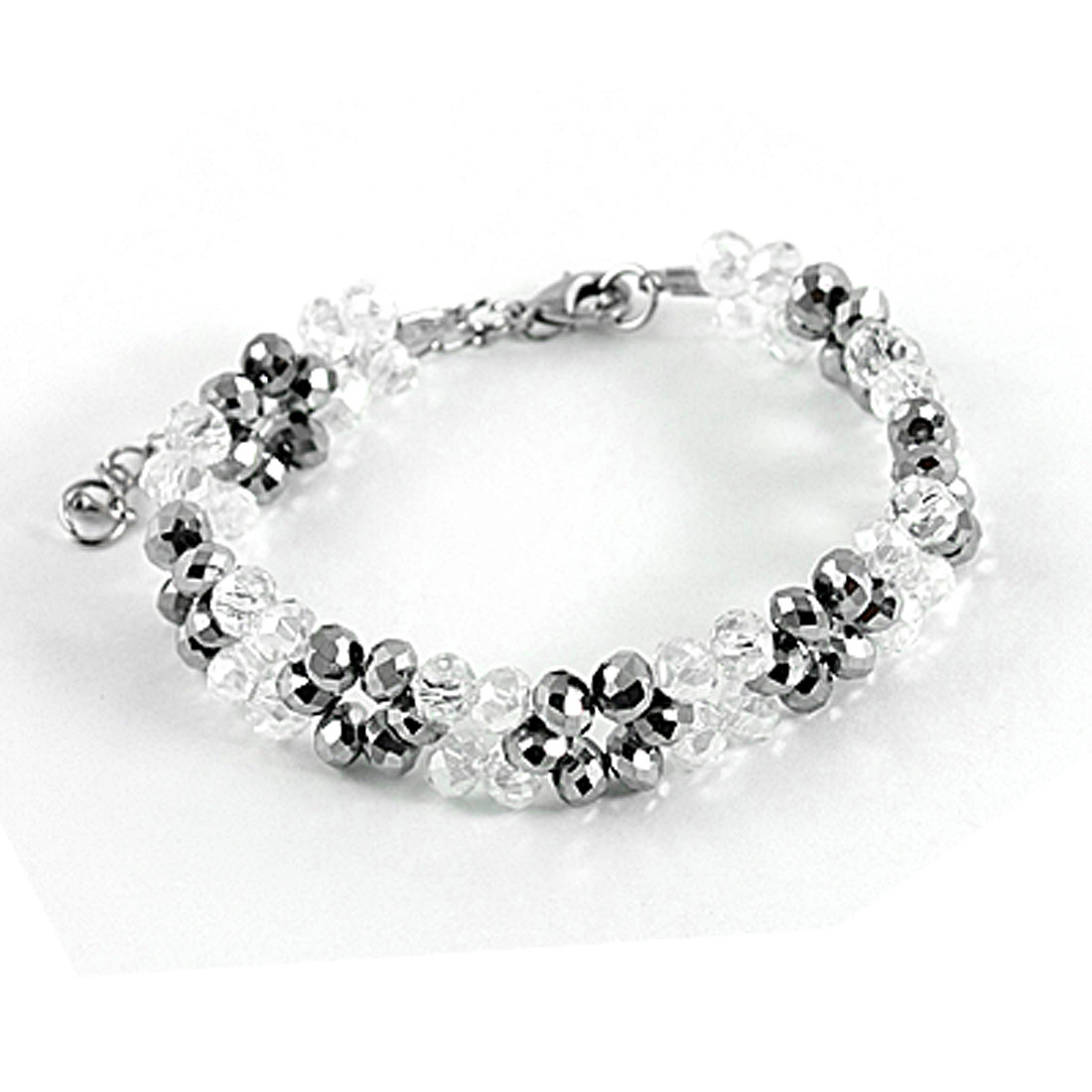 Faux Faceted Crystal Plastic Bracelet Gray Clear for Women