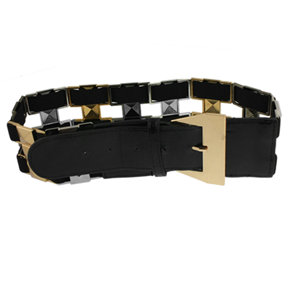 Women Black Single Pin Buckle Studed Detail Cinch Waist Belt