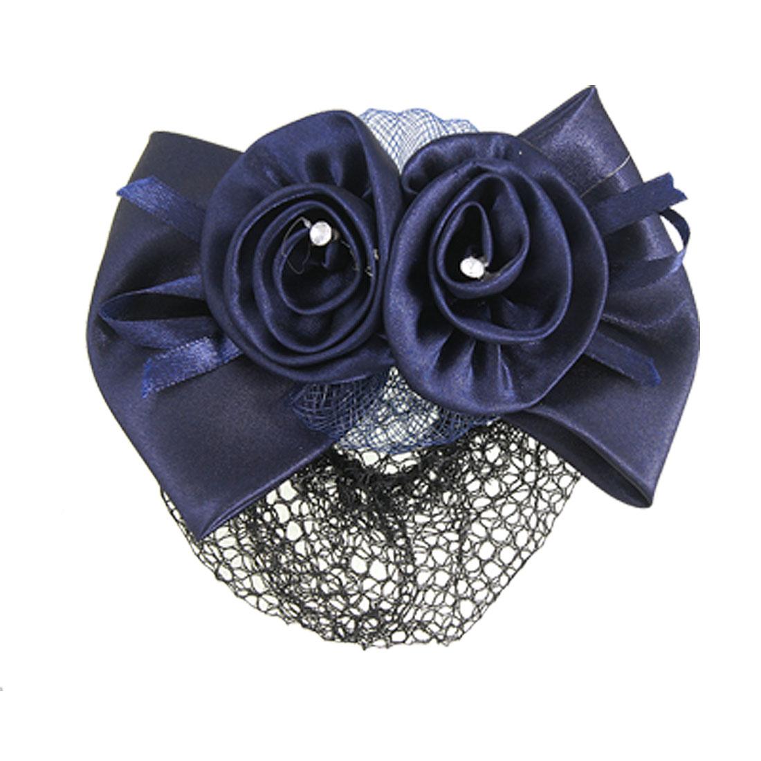 Women Rhinestone Inlaid Blue Flower Bow Hair Clip Snood Net Bun Cover Barrette