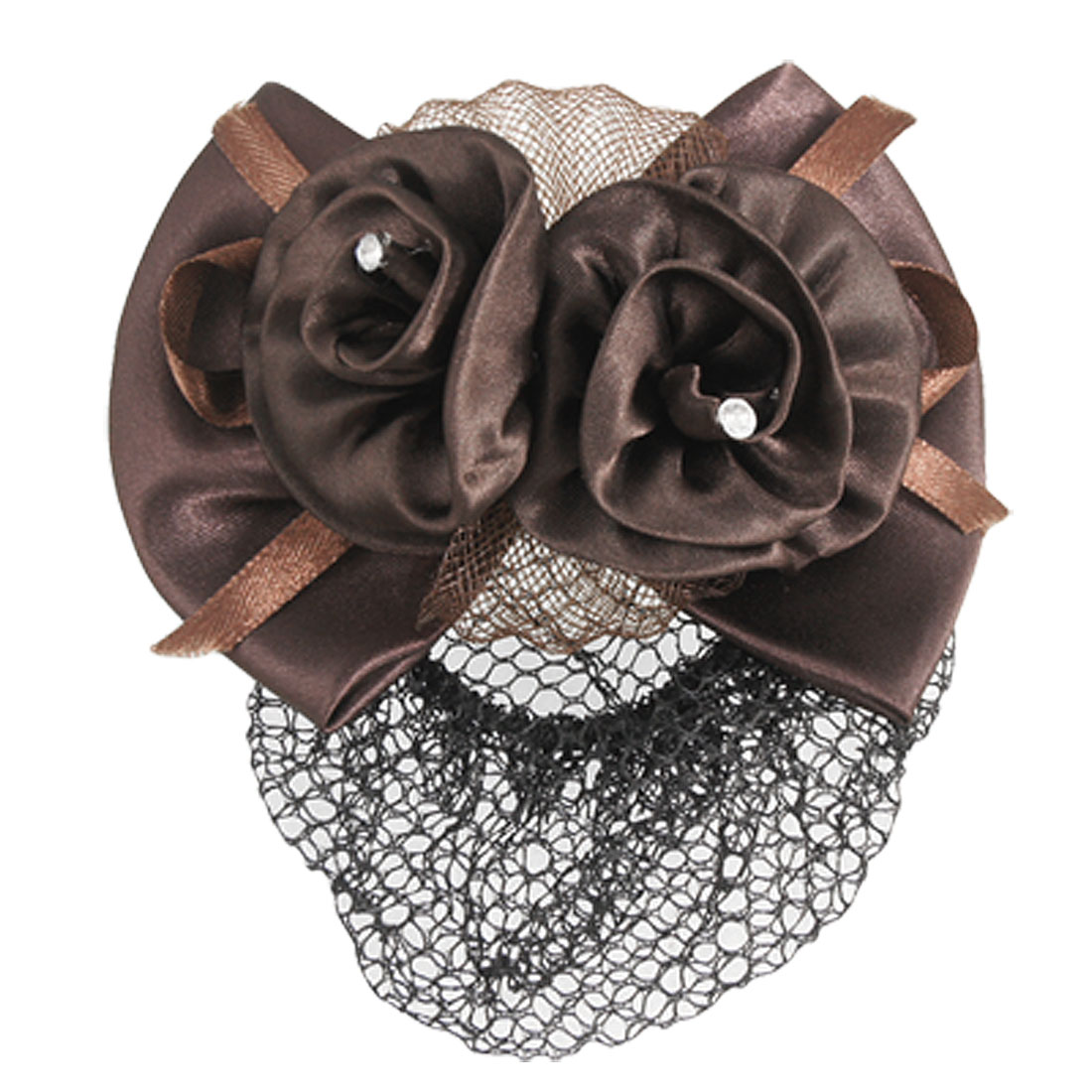 Chocolate Color Flower Bow Tie Decor Barrette Hair Clip w Snood Net for Women