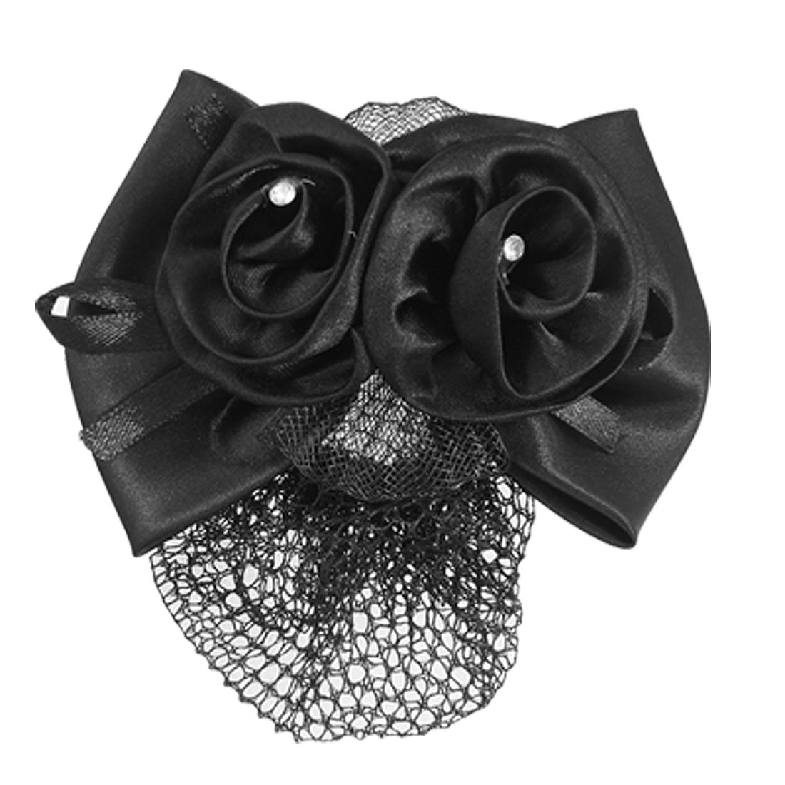 Black Polyester Bow Ribbon Metal Barrette Snood Net Bun Cover Hair Clip for Women