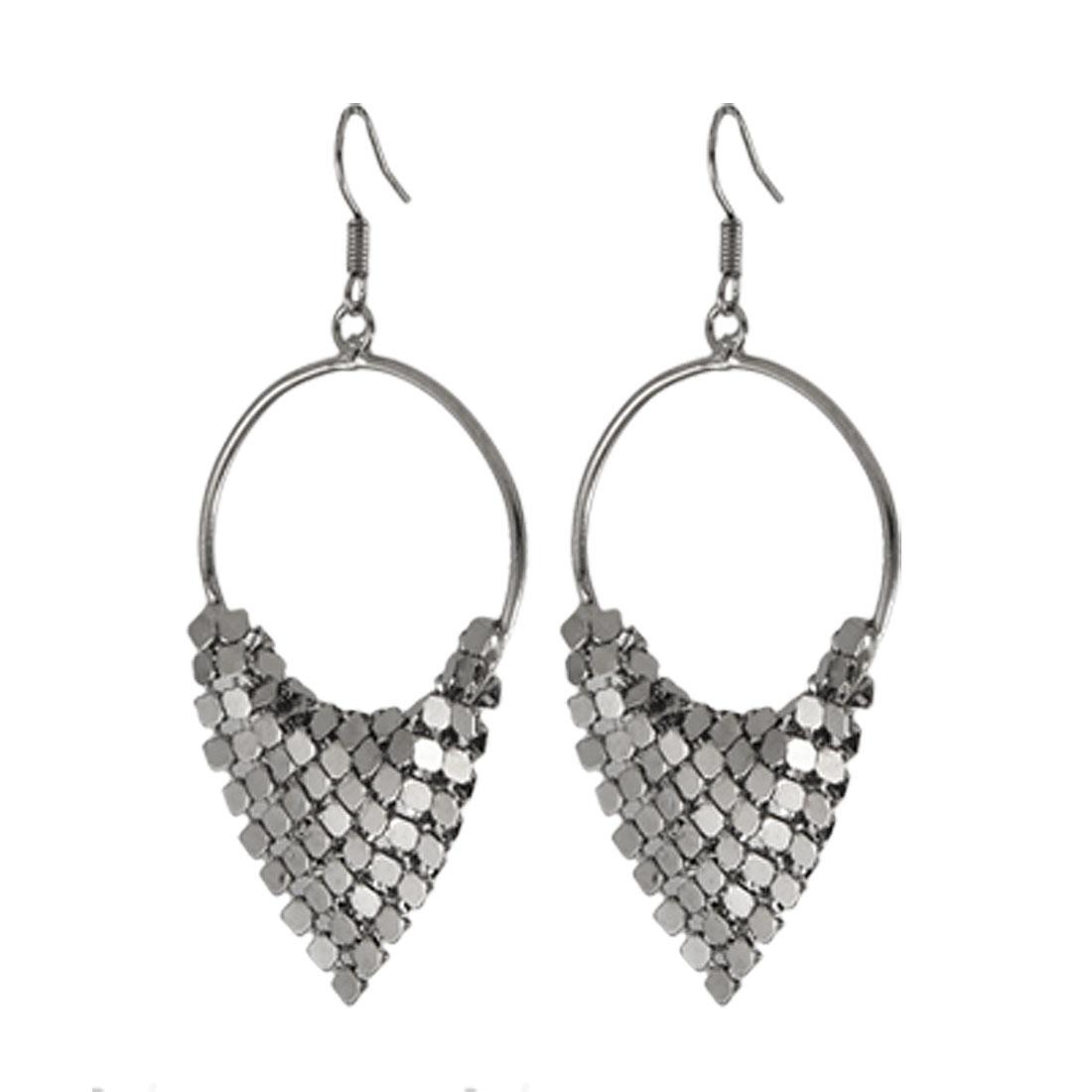 Women Double Side Gray Shiny Sheet Decor Hoop Pendant Fish Hook Earrings