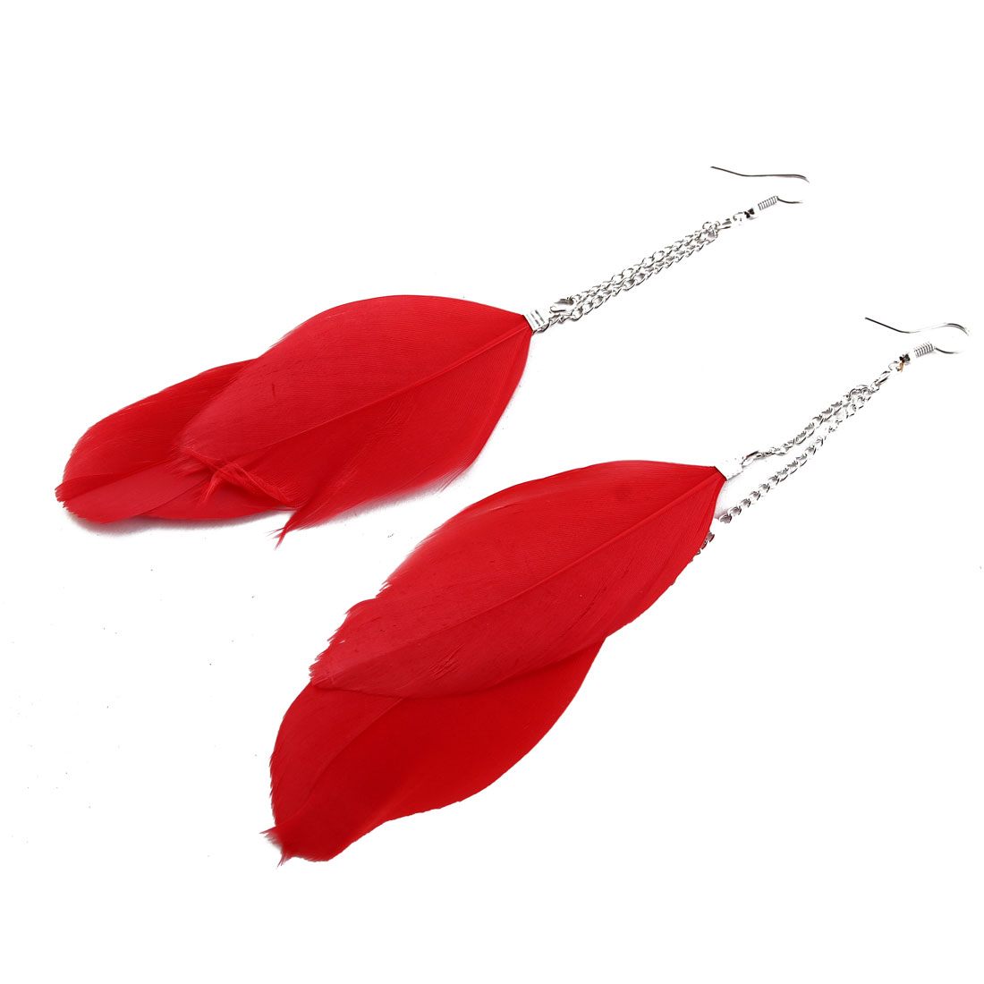 Women Long Chain Design Dual Red Feather Detail Fish Hook Earrings