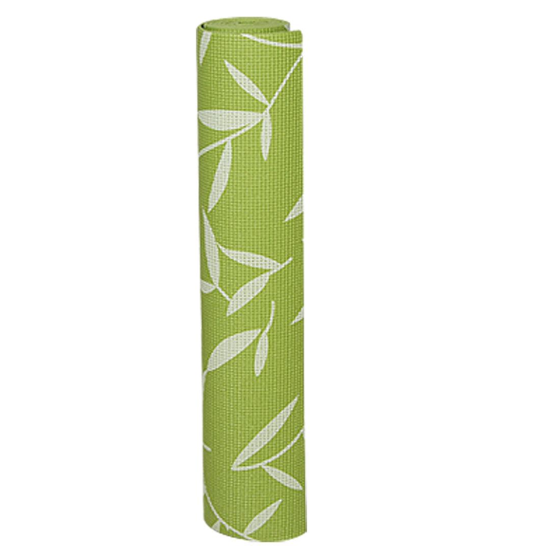 "68"" x 24"" x 1/5"" Olive Green PVC Leaf Print Nonslip Mat Cushion for Yoga"
