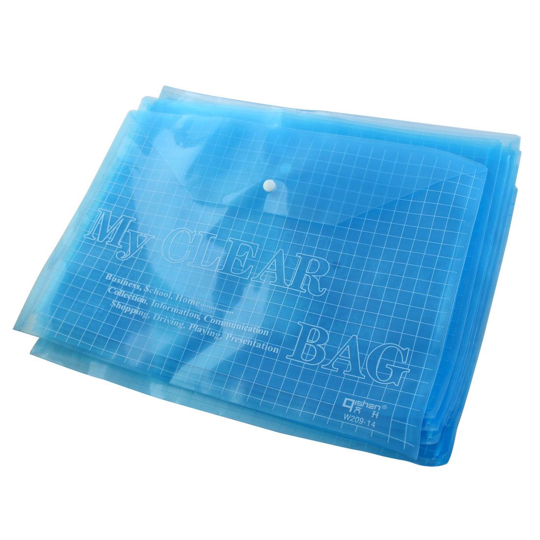 10 Pcs Press Studs Closure A4 Document File Bag Holder Blue