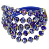 Rhinestone Decor Faux Faceted Crystal 3 Layers Bracelet Indigo for Women