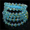 Plastic Sky Blue Faceted Crystal 3 Layers Bracelet for Women