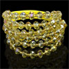 Plastic Faceted Crystal 3 Layers Bracelet Yellow for Women