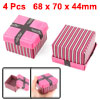 4 Pcs Striped Rectangular Cardboard Valentines Candy Gift Boxes Rose Pink