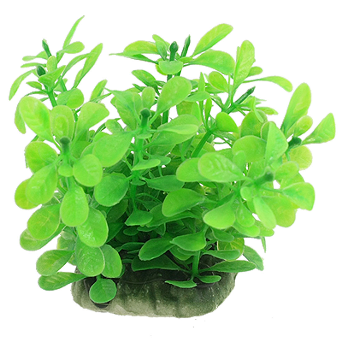 Fish Tank Green Oval Leaf Rectangle Base Plastic Plant Decor Aquascaping