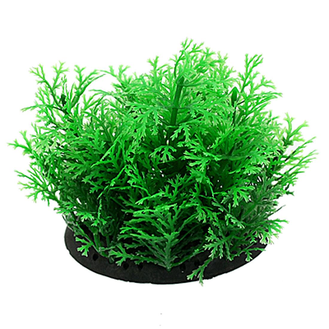 "Aquarium Oval Base Snowflake Leaf 3.1"" High Green Plastic Plant Decor"