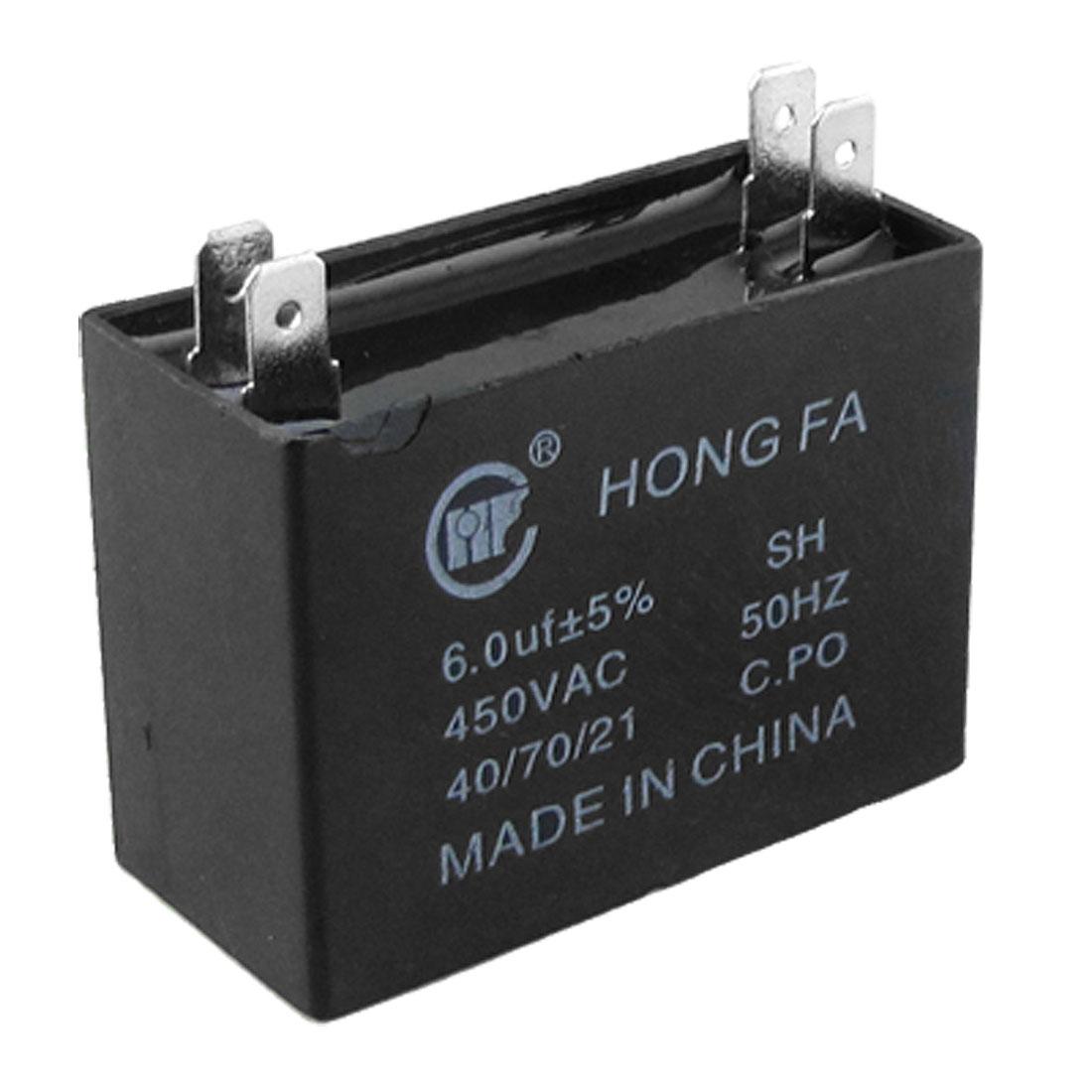 450 VAC 50Hz 6 uF MFD Air Conditioner Capacitor 4 Terminals