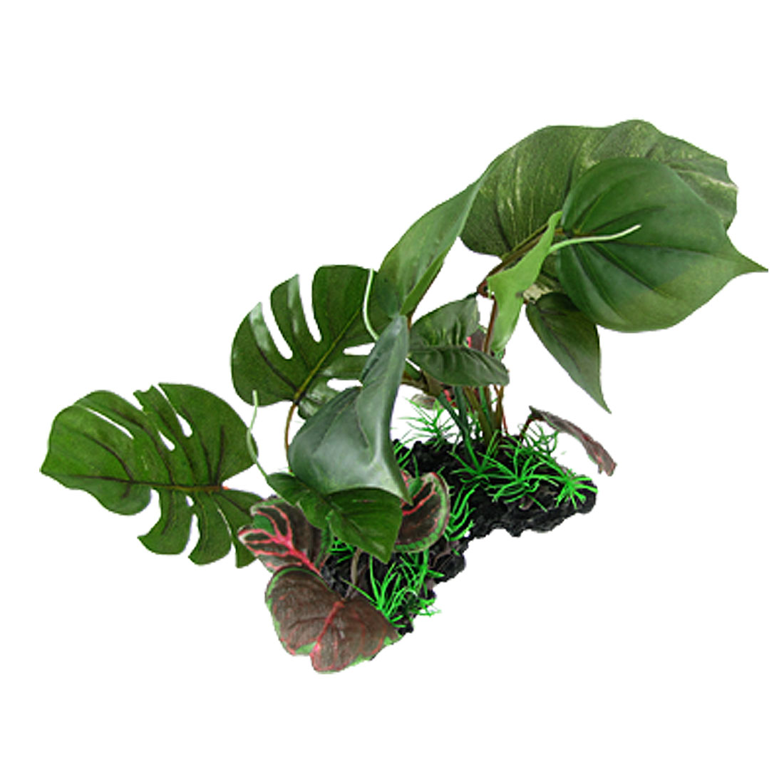 "8"" Fish Tank Emulational Plastic Underwater Plant Green w Weighted Ceramic Base"