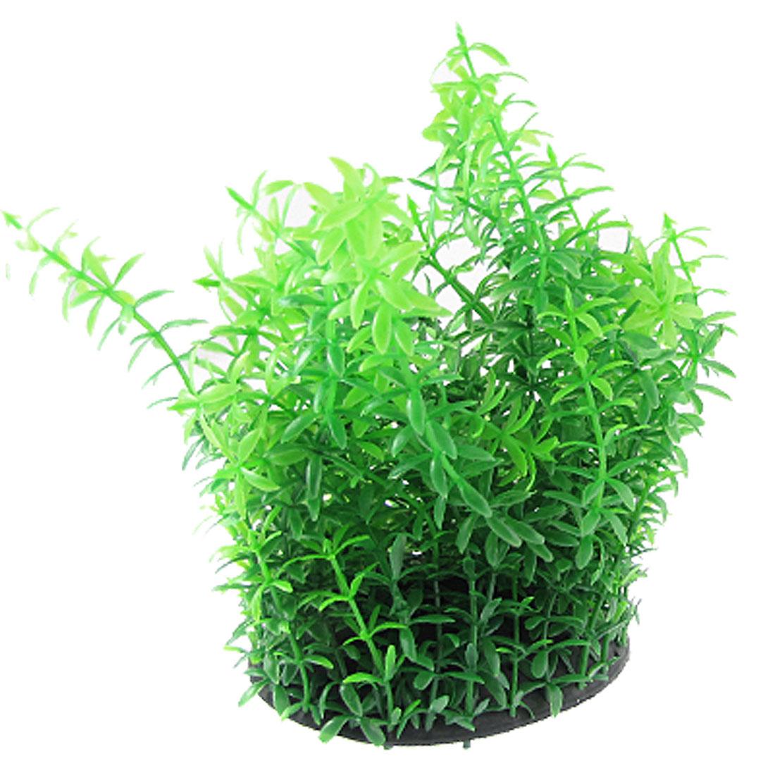 "Aquarium 7.1"" Height Plastic Green Five Leaf Plants Ornament w Black Base"