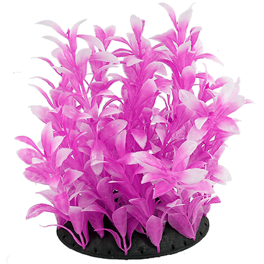 "7"" White Fuchsia Emulational Oval Leaves Plastic Water Plant Fish Tank Aquarium Ornament"