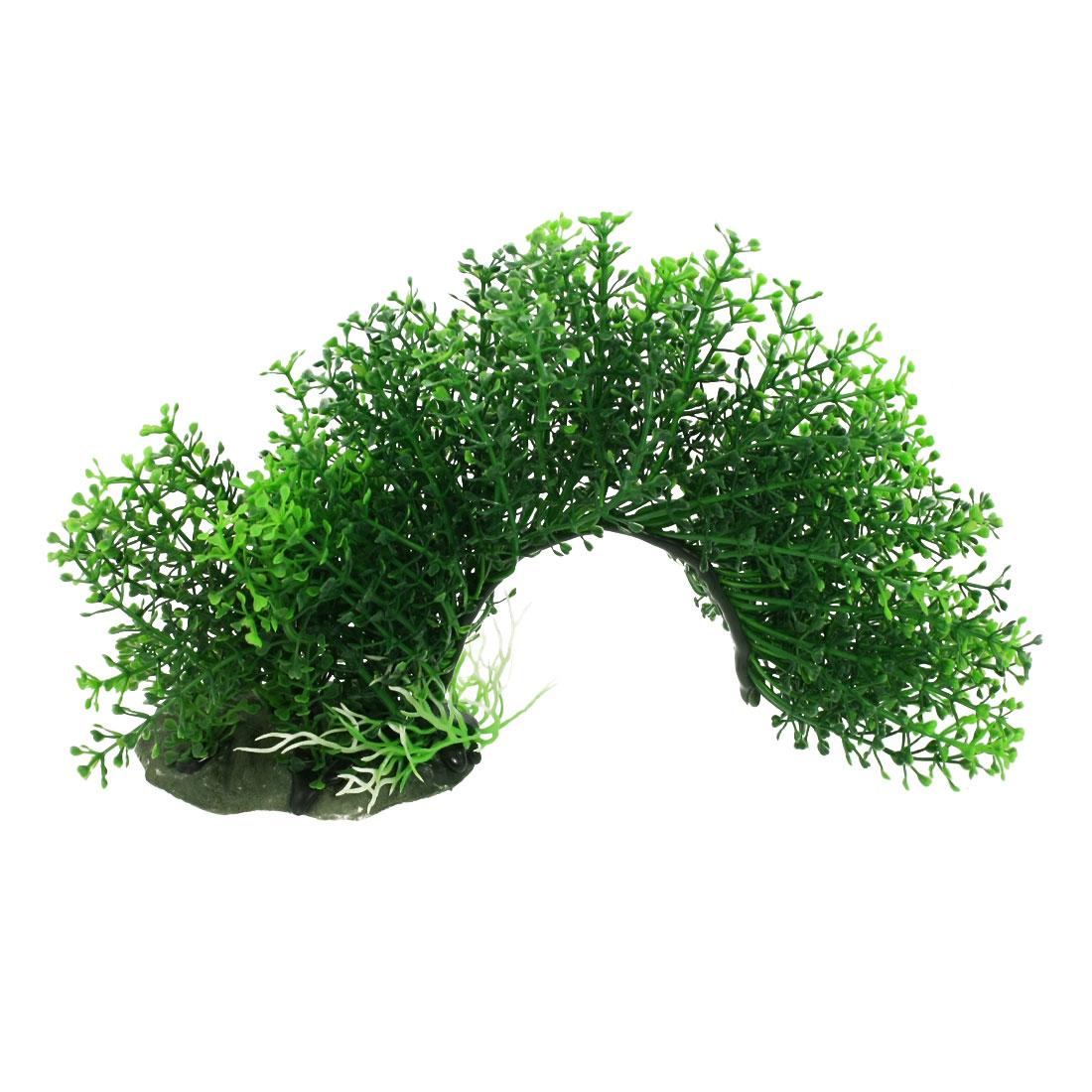 Aquarium Emulational Dark Green Arch Style Plants Decor w Ceramic Base