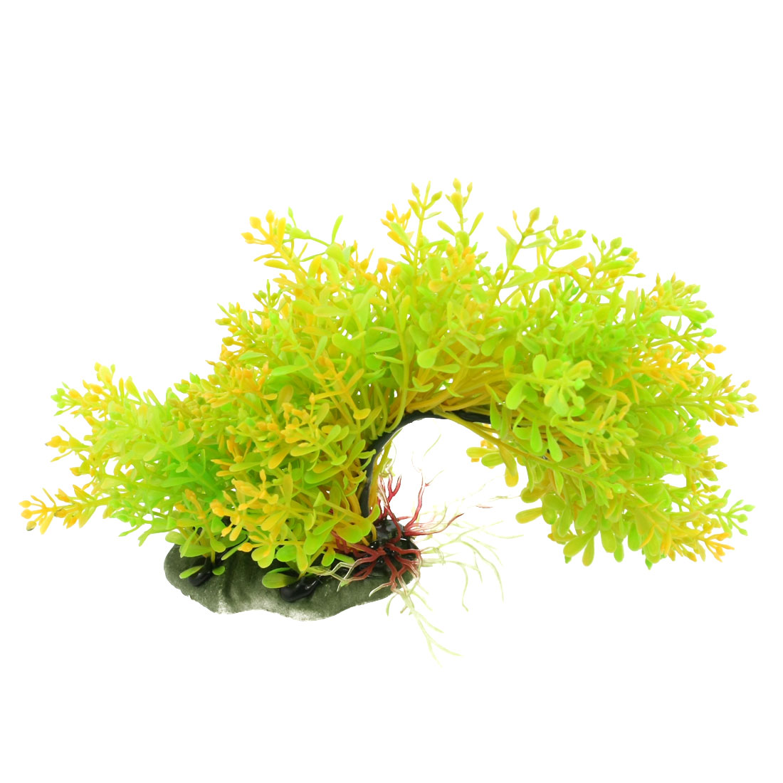 Fish Tank Plastic Arch Bridge Style Aquatic Plants Yellow Green