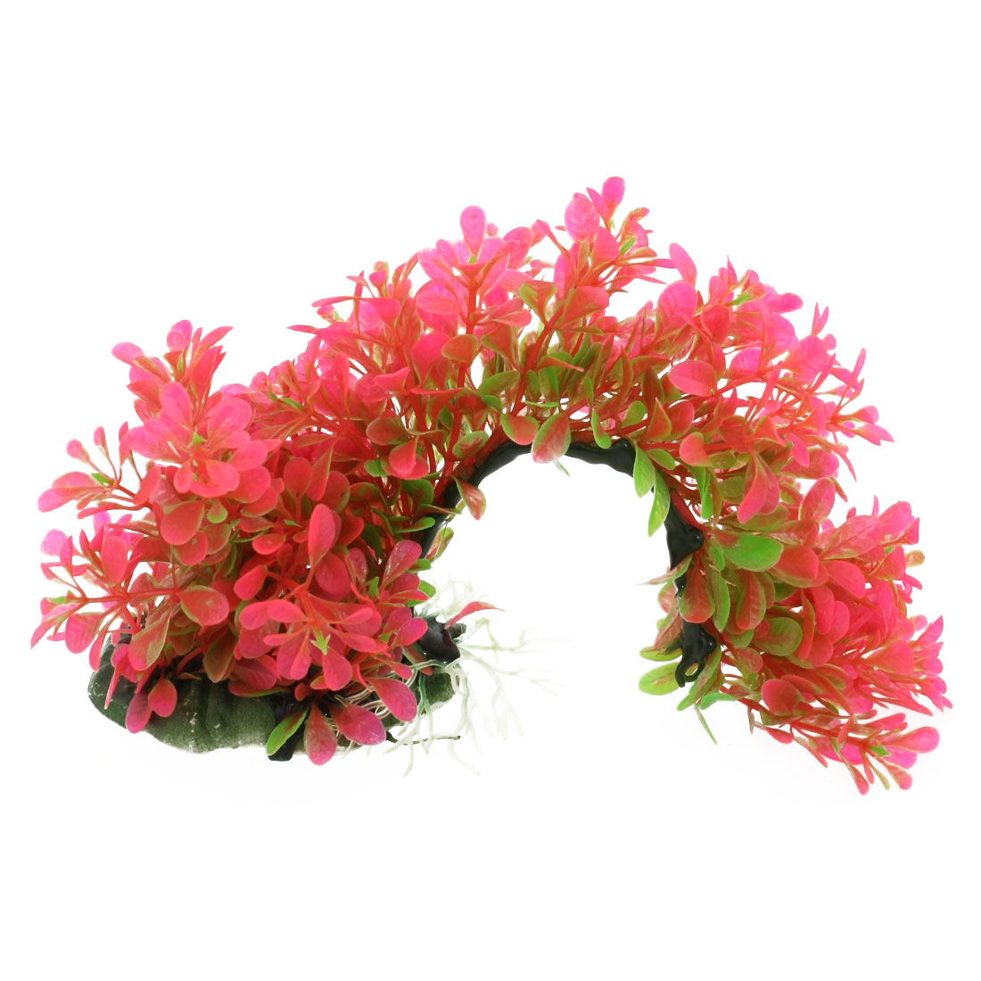 Aquarium Artificial Arch Shaped Aquatic Plants Ornament Hot Pink Green
