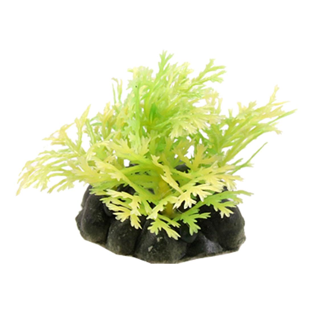 3 Pcs Aquarium Fish Tank Ceramic Base Yellow-green Plastic Plant Decor