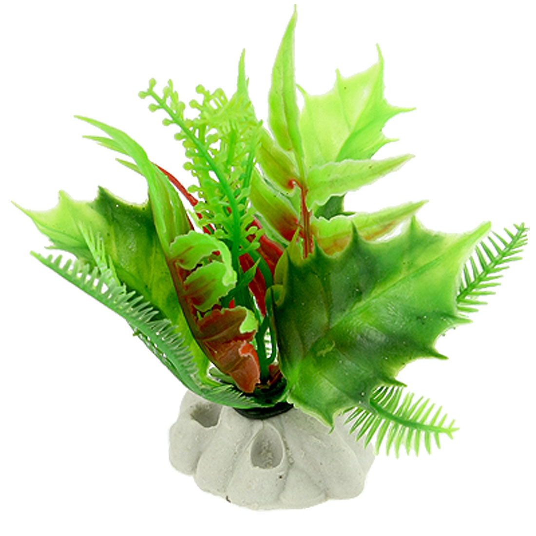 3 Pcs Aquarium Plastic Plant Aquascaping Decor w Ceramic Base
