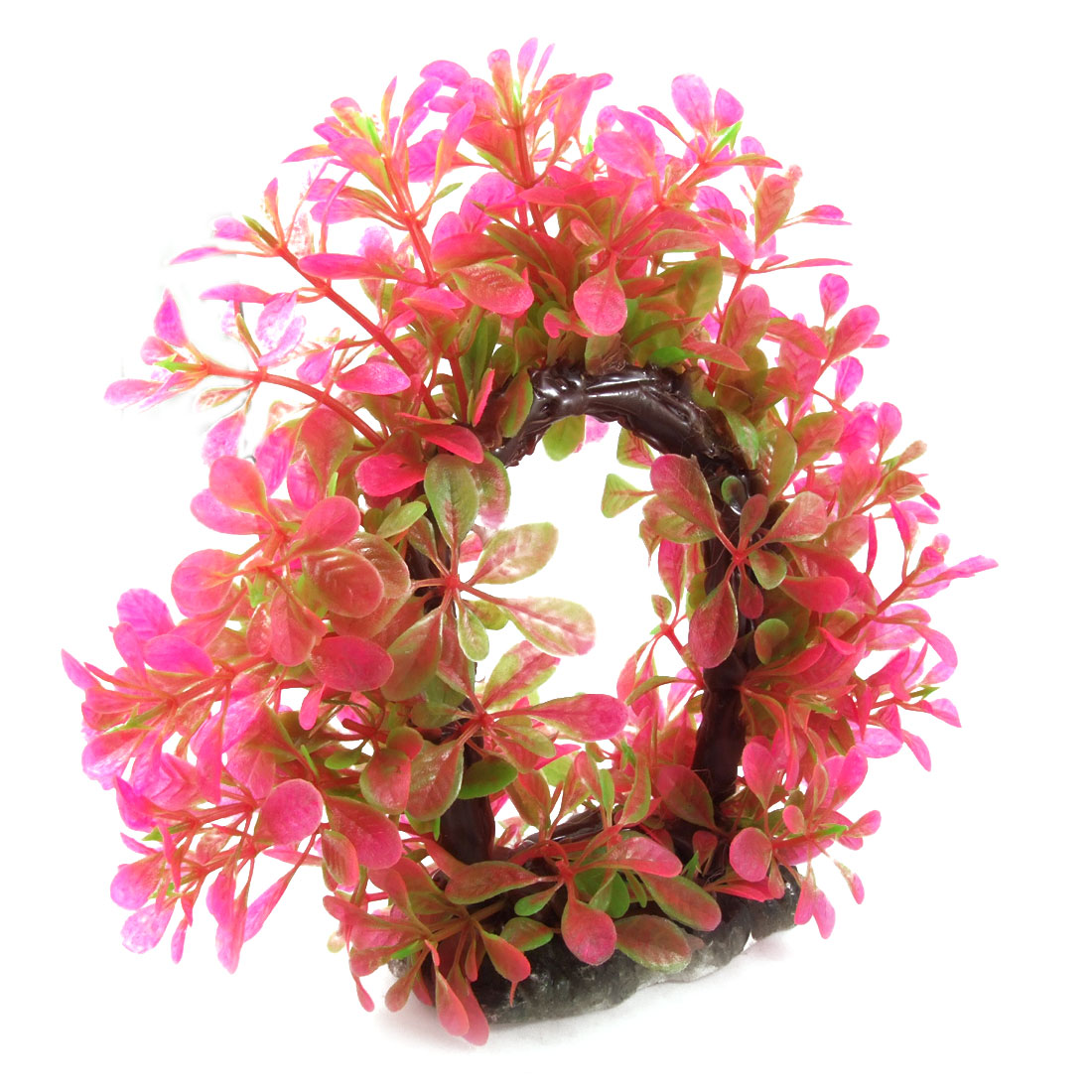 Fuchsia Green Aquarium Fish Tank Curve Design Aquatic Plastic Plant Ornament 6""