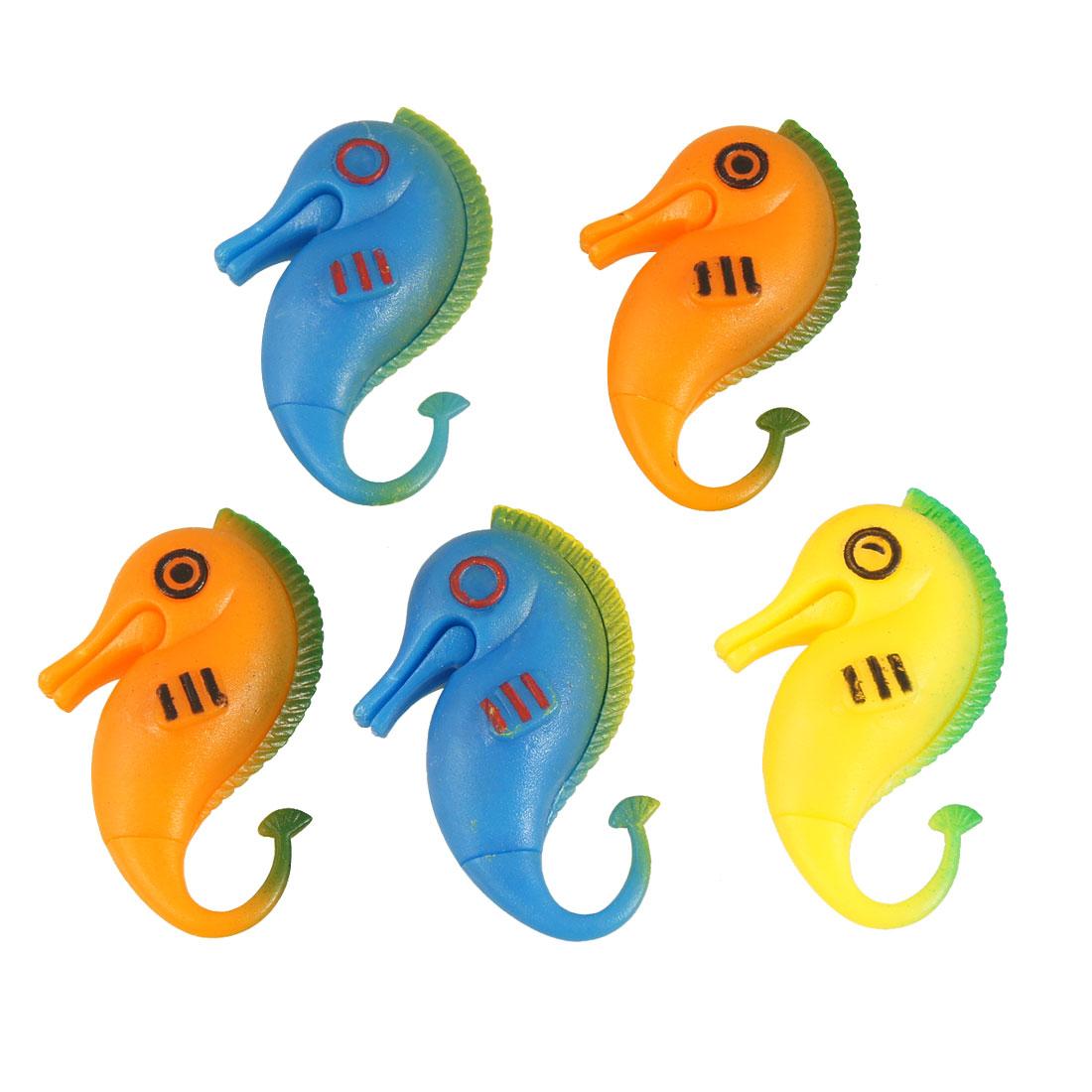 5 Pcs Tricolor Plastic Floating Seahorse Fish for Aquarium