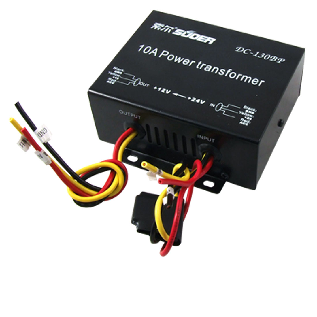 10A DC 18V-32V to 12V Car Power Supply Transformer Black