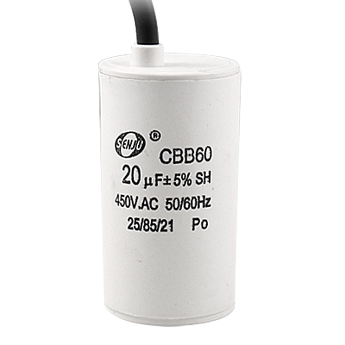 AC 450V 20uF 5% Metallized Polypropylene Film Motor Running Capacitor CBB60