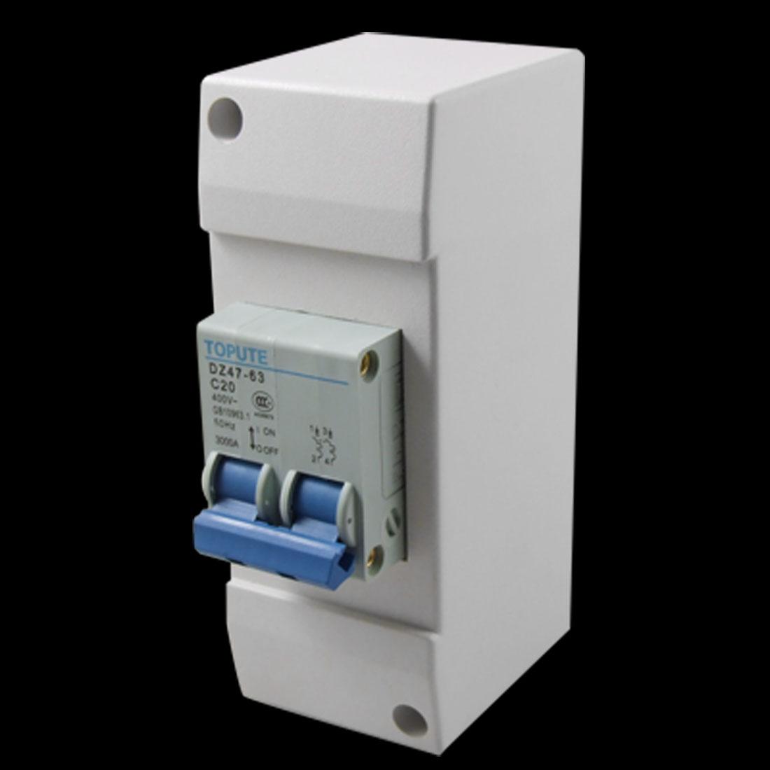 AC 400V 20A 2 Pole Gray Plastic Casing Miniature MCB Circuit Breaker