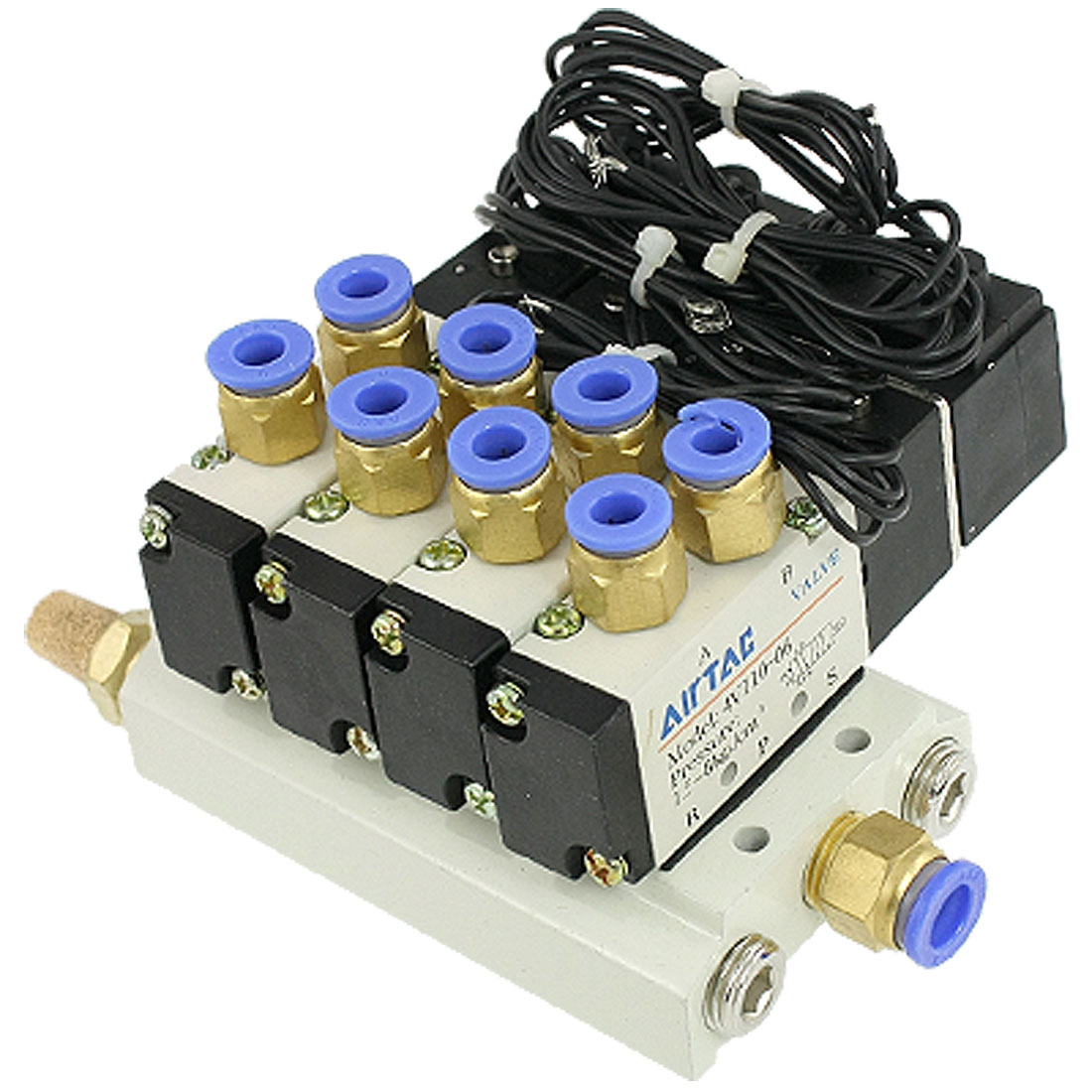 DC 12V Pneumatic Quadruple Solenoid Valve w Base Push In Connectors Silencers