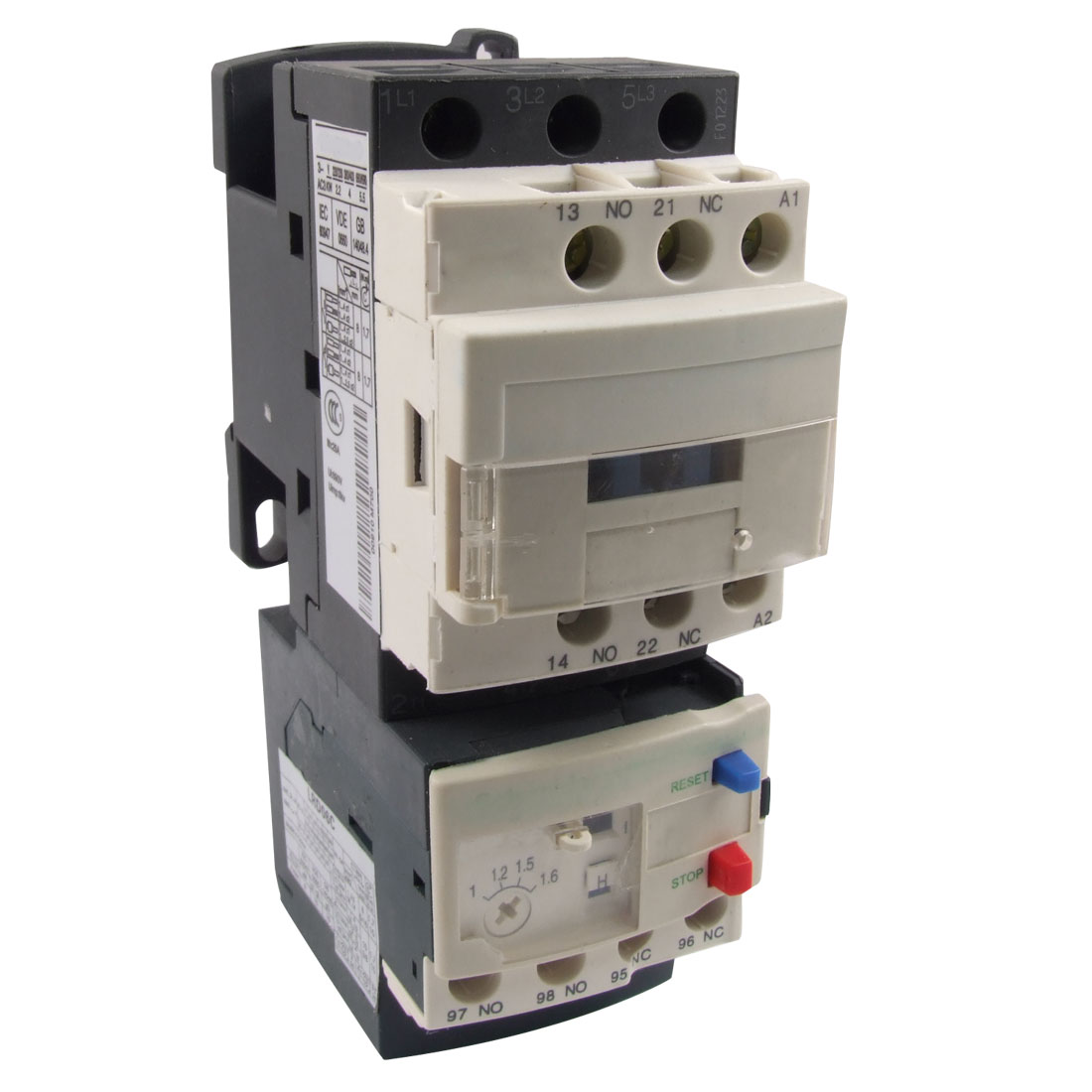 LC1D09 220V Coil AC Contactor w 1-1.6A LRD06 Thermal Overload Relay