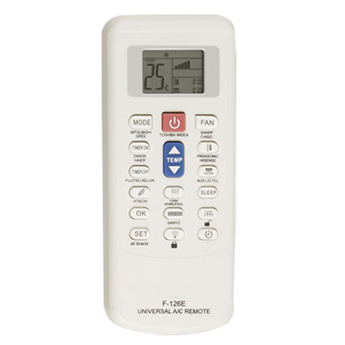 White Plastic Shell LCD Display Universal Air Conditioner Remote Control