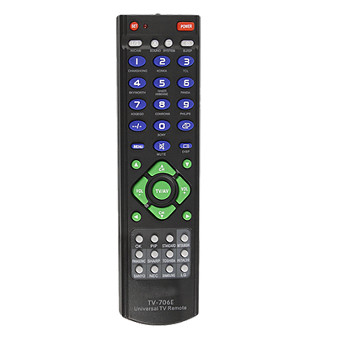 Blue Green Gray Button Plastic Shell TV Universal Remote Controller