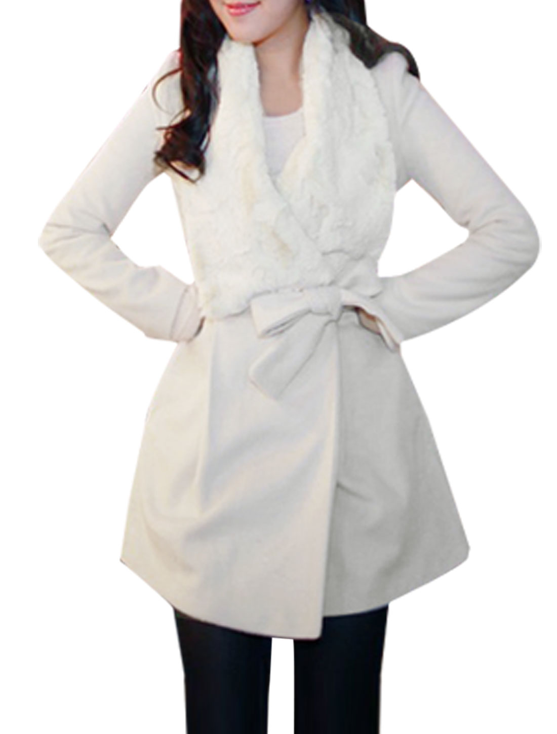 White Plush Collar Single Button Closure Wroest Coat S for Women