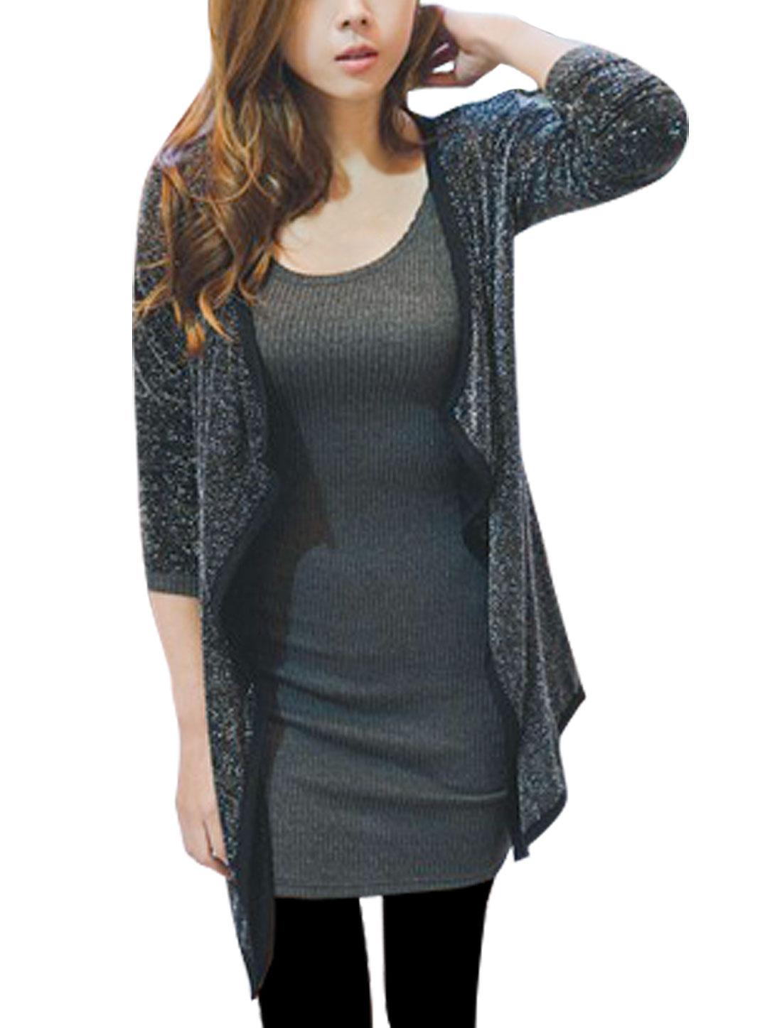 Dark Gray Knitting Long Sleeve Scoop Neck Tunic Shirt XS for Women