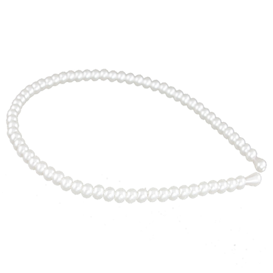 Girls White Faux Pearls Detail Slim Headband Hair Hoop Ornement