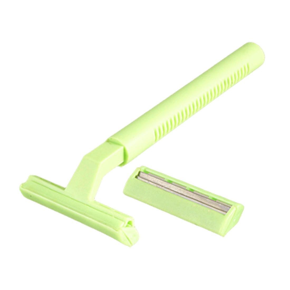 Women Green Nonslip Plastic Handle Body Armpit Hair Razor Remover 2 Pcs