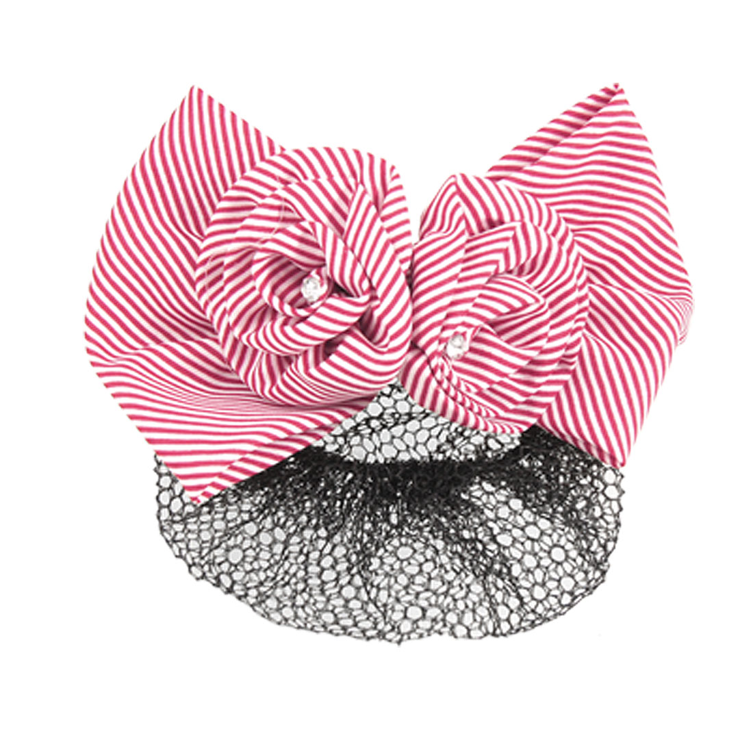 Woman Black Hairnet Red White Striped Flower Hair Clip Barrette