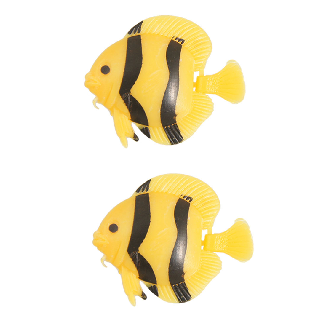 Black Yellow Plastic Aquarium Floating Artificial Fish 2 Pcs