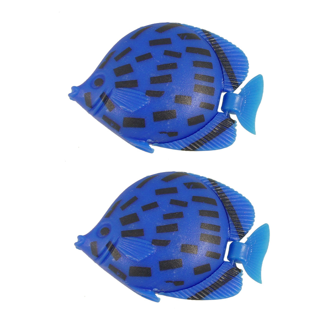 2 Pcs Plastic Swing Tail Float Blue Black Artificial Fish Decoration