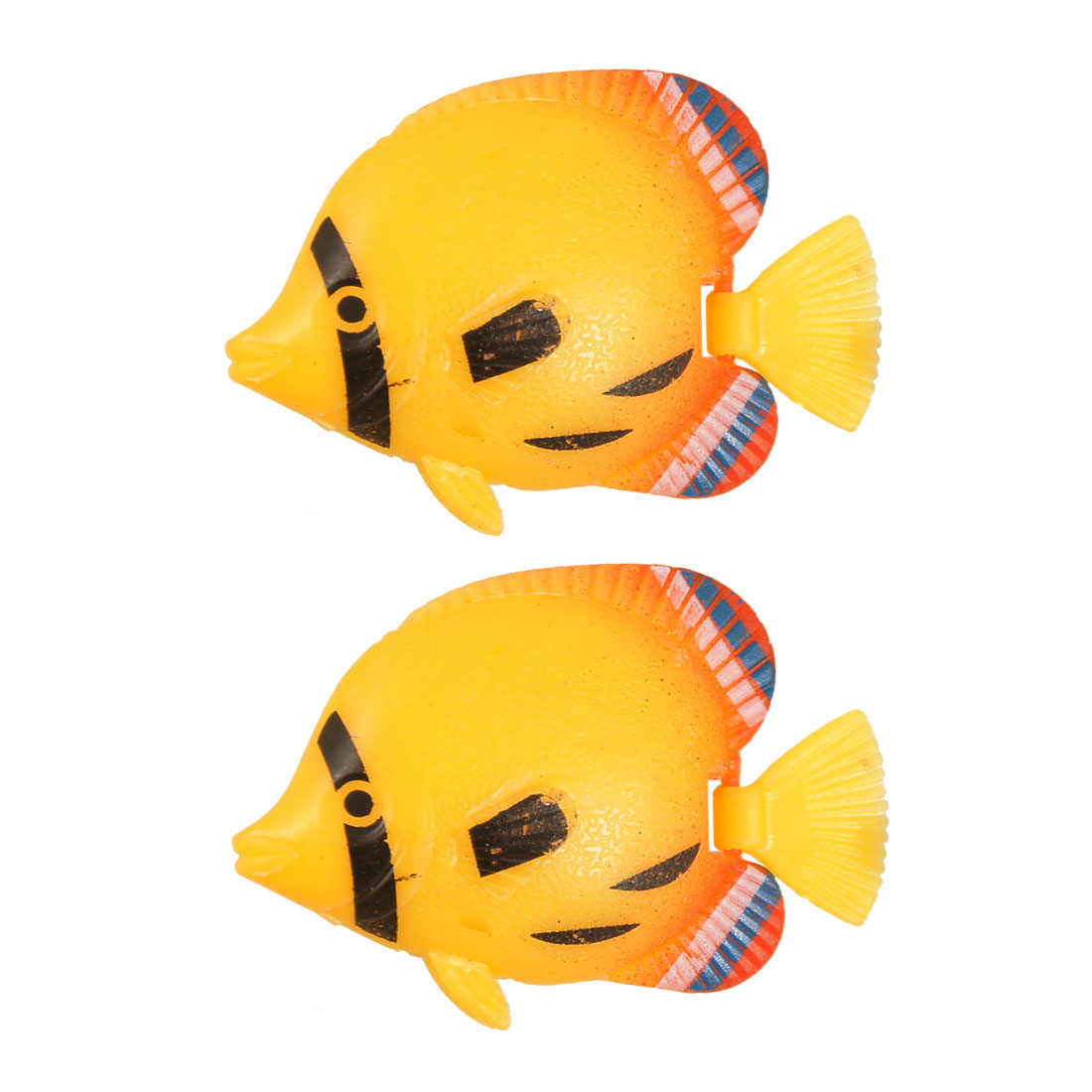 2 Pcs Orange Plastic Moveable Tail Float Little Artificial Fish