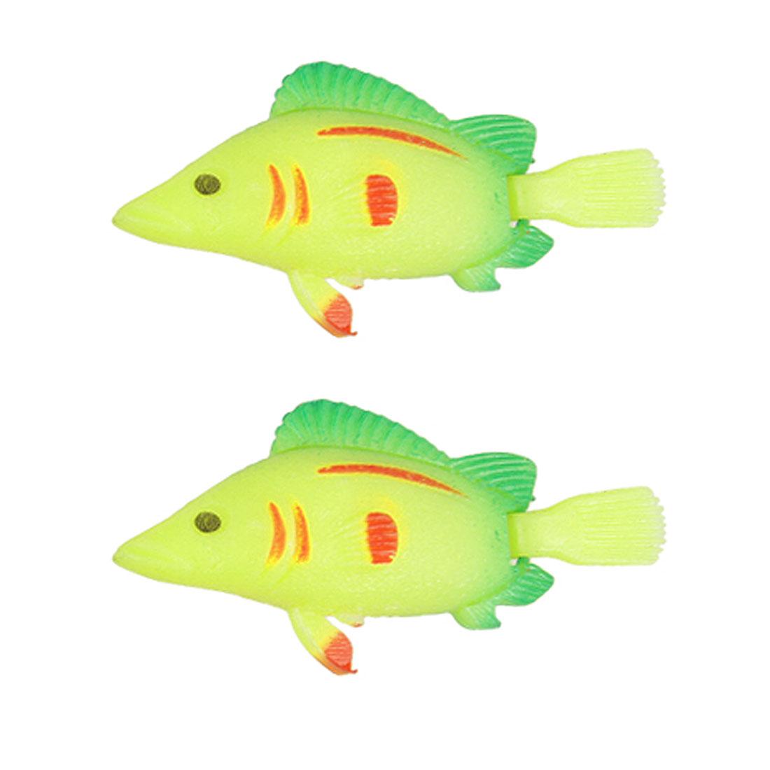 2 Pcs Yellow Plastic Water Float Tank Lifelike Artificial Stripe Fish