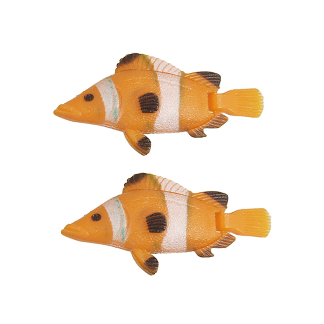 Orange Plastic Flexible Swim Tail Long Simulation Fish for Aquarium 2 Pcs