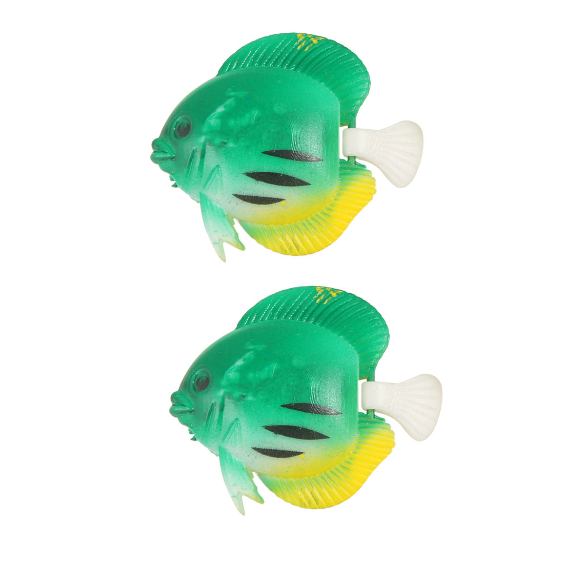 Green Plastic Wiggly Tail Swim Vividly Artificial Fish 2 Pcs